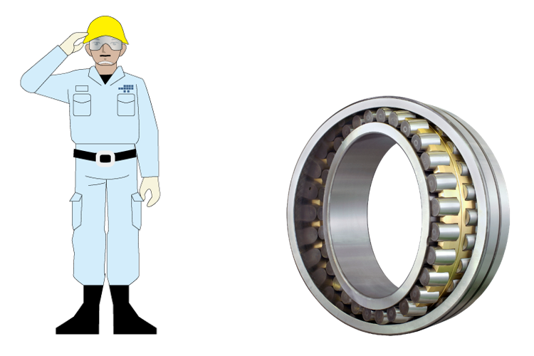 Fig. 3: A large-scale spherical roller bearing for the main shaft of a wind turbine generator