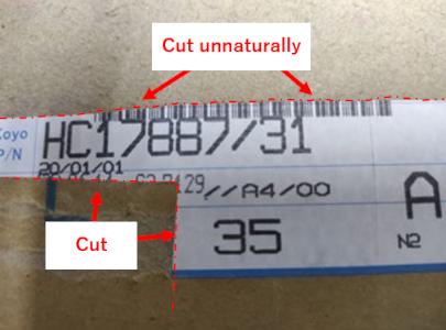 Improper carton label cut unnaturally
