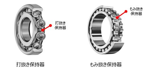 図7 打ち抜き保持器(鋼板製)ともみ抜き保持器(黄銅製)